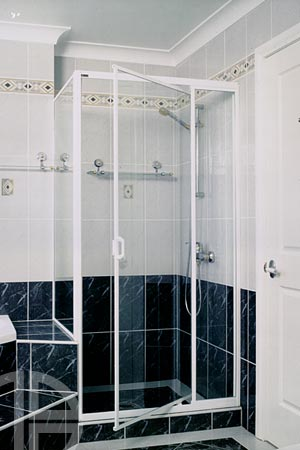 Fully framed shower screen, pivot door system