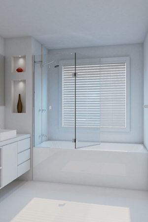 6mm frameless bath screen, hinged door system