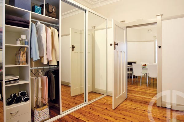 Framed mirror sliding doors