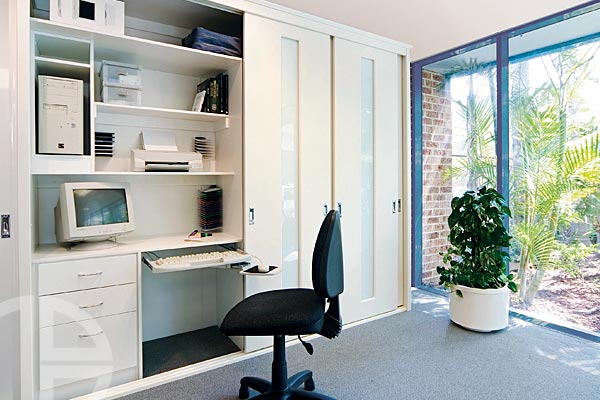 Beacon Antique White Satin Thermoform doors with built-in computer study