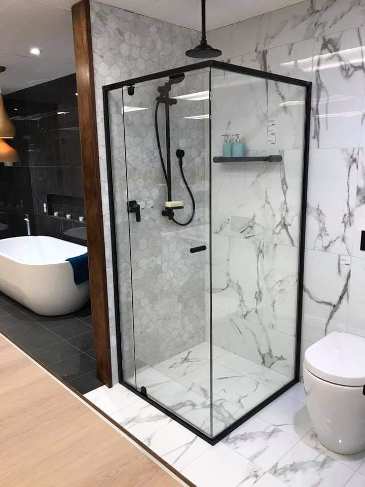 Shower Screen with Black frame by Betta Wardrobes